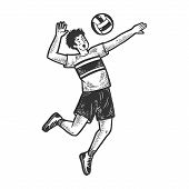 Volleyball Player With Ball Sketch Engraving Vector Illustration. T-shirt Apparel Print Design. Scra poster