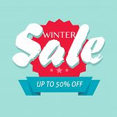Winter Sale Off Or Seasonal Discount Banner Design Vector Symbol, Flat Cartoon Promotion Or Clearanc poster