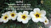 Inspirational Motivational Quote - Hope Sometimes That Is All You Have When You Have Nothing Else. I poster