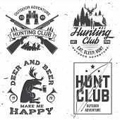 Set Of Hunting Club Badge. Vector. Concept For Shirt Or Label, Print, Stamp. Vintage Typography Desi poster