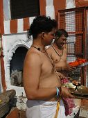 Brahmin Priests Of Shiva Prepare Sacred Fire For Ceremonies