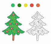 Coloring Page Outline Of Cartoon Cute Christmas Tree. Monochrome And Colored Versions. Coloring Book poster