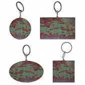 Empty Rusty Key Rings On Isolated Background