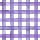 Watercolor Stripe Plaid Seamless Pattern. Purple Stripes On White Background. Watercolour Hand Drawn poster