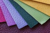 Set Of Colorful Samples Of Fashion Genuine Leather, Modern Industry Concept. Texture Pattern For Bac poster