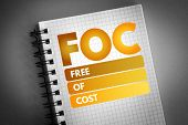Foc - Free Of Cost Acronym, Business Concept Background poster
