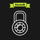 White Line Safe Combination Lock Wheel Icon Isolated On Black Background. Combination Padlock. Secur poster