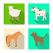 Vector Illustration Of Breeding And Kitchen Symbol. Collection Of Breeding And Organic Stock Symbol  poster