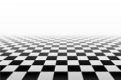 Vector Chess Background. Black And White Perspective Checkered Background. Abstract Background With  poster