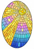 Illustration In Stained Glass Style With Abstract Celestial Landscape, Sun With Rays Against The Sky poster