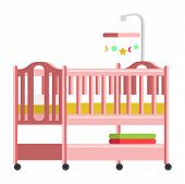 Baby Bed, Cradle Flat Vector Illustration. Comfortable Wooden Crib, Pink Cot With Hanging Mobile Toy poster