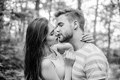 Couple In Love Kissing With Passion Outdoors. Man And Woman Attractive Lovers Romantic Kiss. Passion poster