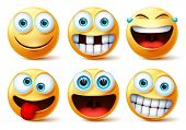 Emojis Vector Face Set. Emoticons And Emoji Cute Faces In Crazy, Funny, Excited, Laughing, And Tooth poster