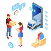Isometric Online Shopping, Delivery, Logistics Concept. Smartphone With Online Delivery Man, Woman,  poster