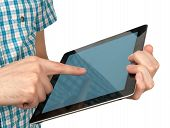 Male Hand Holding A Touchpad Pc