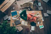 High Angle View Photo Of Corporate Messy Atmosphere Careless Blond Business Lady Lying Table Dont Mi poster