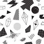 Seamless Pattern With Abstract Geometric Shapes In Black And White Colors. Vector Illustration With  poster