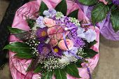 Circular Flower Bouquet With Ruched Holder