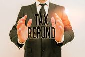Writing Note Showing Tax Refund. Business Photo Showcasing Refund On Tax When The Tax Liability Is L poster