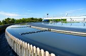 stock photo of sewage  - Modern urban wastewater treatment plant - JPG