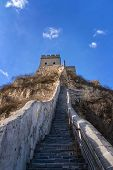 The Great Wall Of China In Winter. The Badaling Area. China Famous Landmark. Wonders Of The World poster