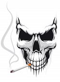 foto of cranium  - Danger skull smoka a cigarette for t - JPG