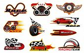 Car Races, Motor Street Racing Engine And Wheel Fire Flame Icons. Vector Racing Team Club Symbols, S poster