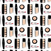 Pattern With Images Of Cosmetics, Cosmetics For Skin Care, Decorative Cosmetics, In The . Sketch Ima poster