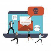 Computer Virus, Malware, Spam And Hacker Attack Vector Illustration. Cartoon Business Men Running In poster