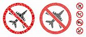 No Airplane Composition Of Joggly Parts In Various Sizes And Shades, Based On No Airplane Icon. Vect poster