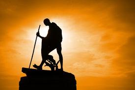 stock photo of gandhi  - Statue of Mahatma Gandhi taken in outdoor background - JPG