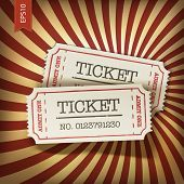Cinema tickets on retro rays background. Raster version, vector file available in portfolio.