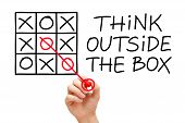 stock photo of thinking outside box  - Hand sketching Think Outside The Box concept with red marker on transparent wipe board - JPG