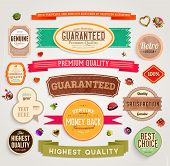 Set of vector retro ribbons, old dirty paper textures and vintage labels, banners and emblems. Eleme