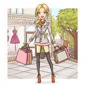Fashion girl at shopping