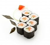 Sake Maki Sushi - Roll with Fresh Salmon and Cucumber