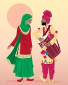 stock photo of turban  - an illustration of male and female punjabi dancers dressed in traditional clothing with salwar kameez and turban playing a drum with a hot dusty background - JPG