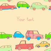 Doodle cute cars seamless background in pastel colors with a place for your text, vector