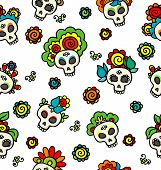 Pattern With Skulls-catrinas