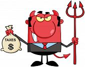 picture of immoral  - Smiling Devil With A Trident And Holding Taxes Bag - JPG