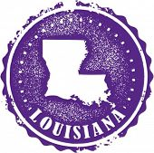 Vintage Style Louisiana USA State Stamp