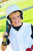 Cute Baseball Player In Dugout