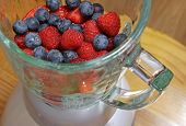 picture of blender  - Fruit including blueberries raspberries and strawberries in a blender about to made into a smoothie - JPG