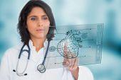 Cardiologista usando uma interface de médica no hospital