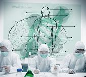 Chemists working in protective suit with futuristic interface showing scientific diagrams with body, brain and dna