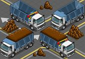 Isometric Containers Trucks in front view