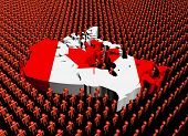 Canada map flag surrounded by many abstract people illustration