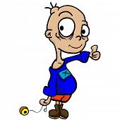 cartoon illustration of a boy with yo-yo and thumbs up