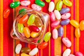 stock photo of jar jelly  - the jelly beans in glass jar - JPG