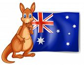 Illustration of a kangaroo beside an Australian flag on white background